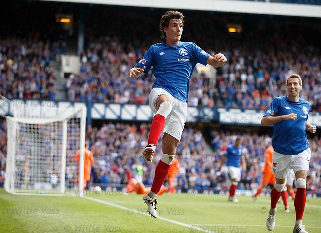 Fran Sandaza scores goal no 3 for Rangers and celebrates