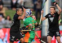George Muir celebrates a goal. Pro League Hockey, Vantage Blacksticks Men v Australia, ANZAC test. North Harbour Hockey Stadium, Auckland, New Zealand. Thursday 25 April 2019. Photo: Simon Watts/Hockey NZ