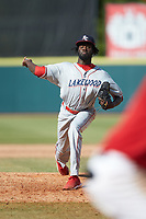 Lakewood BlueClaws relief pitcher Oscar Marcelino (35) in action against the Hickory Crawdads at L.P. Frans Stadium on April 28, 2019 in Hickory, North Carolina. The Crawdads defeated the BlueClaws 10-3. (Brian Westerholt/Four Seam Images)