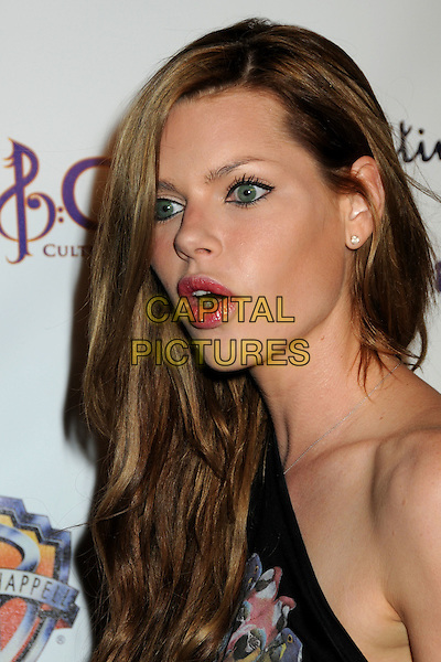 "SOPHIE MONK.Fred Segal Lyric Culture ""Nude Collection"" Launch Party Fashion Show and Concert by Semi Precious Weapons held at Fred Segal Santa Monica, California, USA, .10th August 2010..portrait headshot one shoulder black print  mouth open funny profile .CAP/ADM/BP.©Byron Purvis/AdMedia/Capital Pictures."