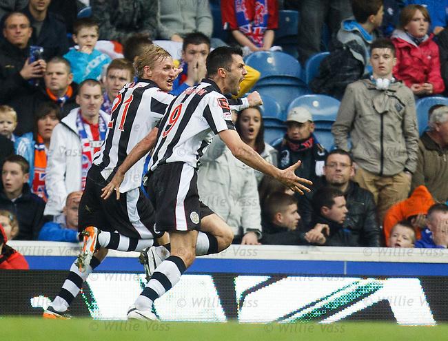 Steven Thomson celebrates his goal for St Mirren