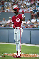 Cincinnati Reds Eric Davis (44) during spring training circa 1990 at Chain of Lakes Park in Winter Haven, Florida.  (MJA/Four Seam Images)