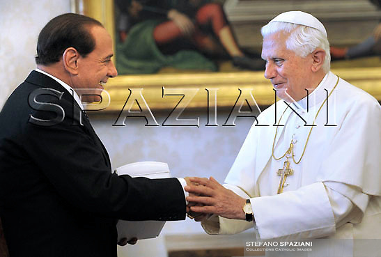 Pope Benedict XVI and  Italy's Prime Minister Silvio Berlusconi meet during a private audience at the Vatican, Monday, June. 8, 2008..