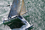 Aerial photo shoot of L'Hydroptère DCNS, Alain Thébault and his crew (Jacques Vincent, Yves Parlier, Jean Le Cam, Robert Douglas) sailing in San Francisco, California, USA.