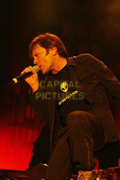 IRON MAIDEN.Live at the Dubai Desert Rock Festival, Dubai, United Arab Emirates..March 9th, 2007.stage concert gig performance music full length 3/4 singing black profile .CAP/MAR.© Martin Harris/Capital Pictures.