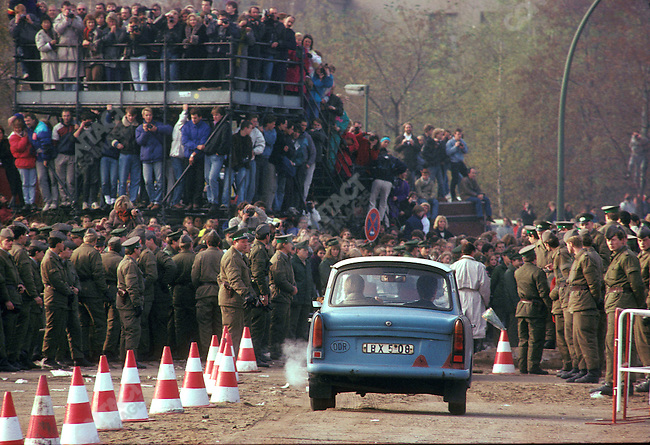 Opening of the Berlin Wall. East Berliners drive their Trabant cars for their first visit to West Berlin. Germany, November 1989