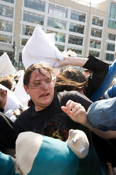 A massive pillow fight takes place in Union Square in New York City as part of World Pillow Fight Day.