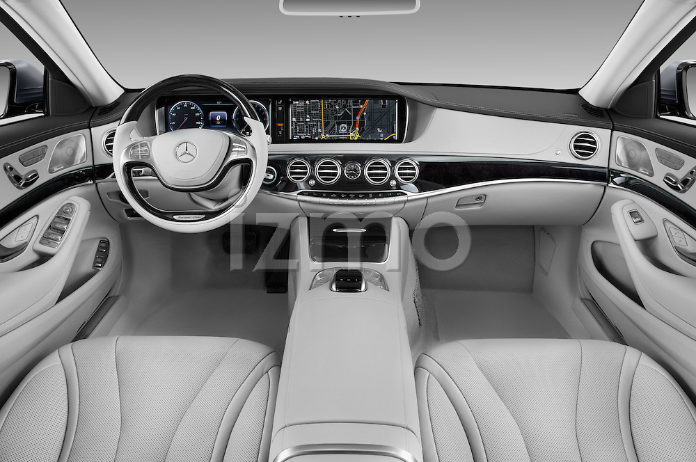Stock photo of straight dashboard view of 2017 Mercedes Benz S-Class S550-PLUG-IN-HYBRID 4 Door Sedan Dashboard