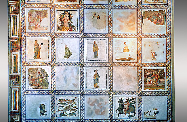 Roman  floor mosaic depicting pastral scenes and scenes from mythology  from  a room of a villa  in the locality Baccano near the Via Cassia, Rome. end of 2nd and beginning of the 3rd century AD. National Roman Museum, Rome, Italy
