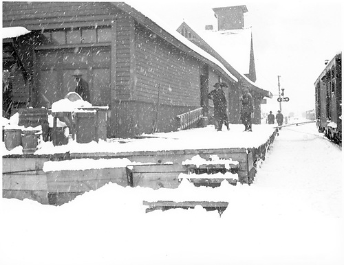 A northwest corner view of the RGS Rico depot showing the loading dock on a snowy day.<br /> RGS  Rico, CO  Taken by Mollette, Erskine (Rex)