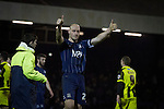 Southend United 1 Burton Albion 1, 22/02/2016. Roots Hall, League One. Home defender Adam Barrett giving the thumbs up to his supporters after the final whistle as Southend United took on Burton Albion in a League 1 fixture at Roots Hall. Founded in 1906, Southend United moved into their current ground in 1955, the construction of which was funded by the club's supporters. Southend won this match by 3-1, watched by a crowd of 6503. Photo by Colin McPherson.