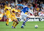 Motherwell v St Johnstone...11.08.12.Murray Davidson and Keith Lasley.Picture by Graeme Hart..Copyright Perthshire Picture Agency.Tel: 01738 623350  Mobile: 07990 594431
