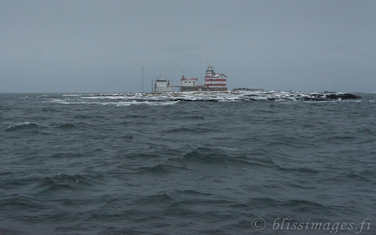 Grey seas and overcast skies greet Märket Island Light on a winter's day in the Sea of Åland.