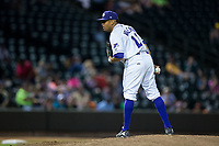 Winston-Salem Dash relief pitcher Kelvis Valerio (22) looks to his catcher for the sign against the Buies Creek Astros at BB&T Ballpark on April 15, 2017 in Winston-Salem, North Carolina.  The Astros defeated the Dash 13-6.  (Brian Westerholt/Four Seam Images)