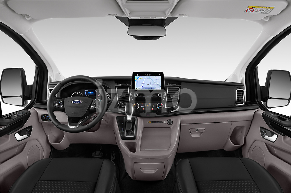 Stock photo of straight dashboard view of a 2018 Ford Tourneo Custom Sport 5 Door Passenger Van