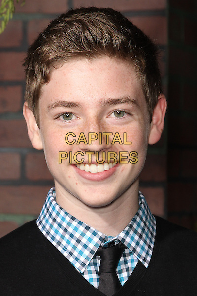 "JACKSON PACE.""Beautiful Creatures"" Los Angeles Premiere held at the TCL Chinese Theatre, Hollywood, California, USA. .February 6th, 2013.headshot portrait blue check shirt white black .CAP/CEL .©CelPh/Capital Pictures."