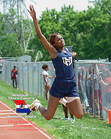 (Wentzvile) Holt senior Nataliyah Friar flies toward to the sand on her way to a 1st place finish in the triple jump despite passing on her final two jumps at the Class 4 Sectional 2 meet at Parkway North. A month after injuring her hip flexor, Friar won the triple jump with a mark of 38-8.25, and placed 4th in the 100 in 12.28 and 200 meters in 25.30. Friar started the day by placing second in the long jump,  jumping  off of her off leg to prevent further injury.