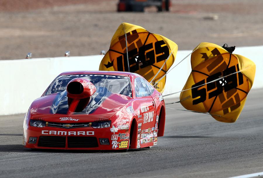 Nov 2, 2014; Las Vegas, NV, USA; NHRA pro stock driver Erica Enders-Stevens during the Toyota Nationals at The Strip at Las Vegas Motor Speedway. Mandatory Credit: Mark J. Rebilas-USA TODAY Sports
