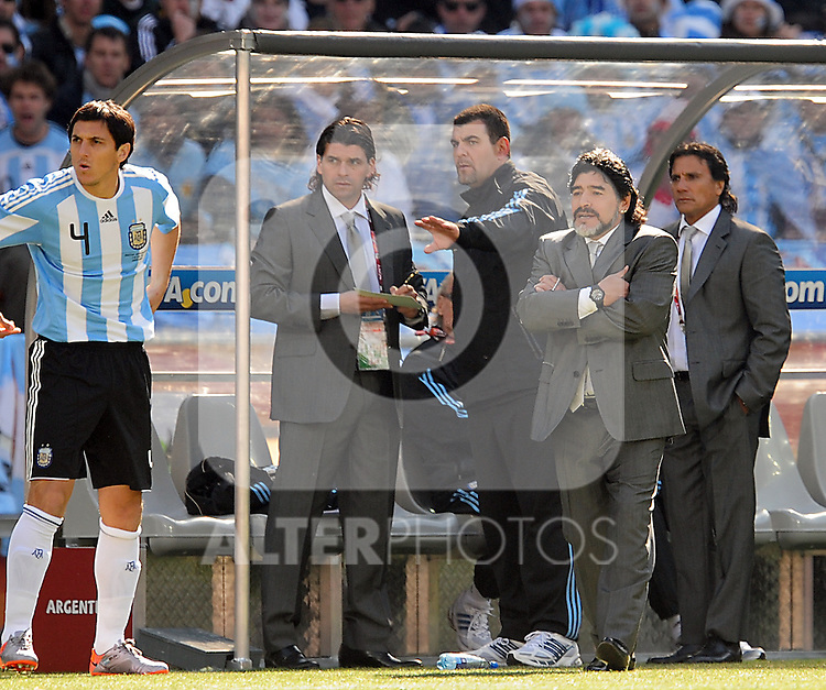 Maradonna during the 2010 World Cup Soccer match between Argentina vs Korea Republic played at Soccer City in Johannesburg, South Africa on 17 June 2010.
