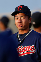 Naoki Hashimoto #46 of the AZL Indians before a game against the AZL Giants at the Cleveland Indians Training Complex on July 11, 2013 in Goodyear, Arizona. AZL Giants defeated the AZL Indians, 19-3. (Larry Goren/Four Seam Images)