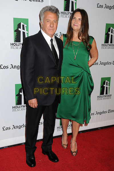 Dustin Hoffman & Lisa Gottsegen.16th Annual Hollywood Film Awards Gala held at the Beverly Hilton Hotel, Beverly Hills, California, USA..October 22nd, 2012.full length green dress married husband wife black white shirt tie suit .CAP/ADM/BP.©Byron Purvis/AdMedia/Capital Pictures.