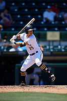 Bradenton Marauders left fielder Logan Hill (25) at bat during a game against the Charlotte Stone Crabs on April 9, 2017 at LECOM Park in Bradenton, Florida.  Bradenton defeated Charlotte 5-0.  (Mike Janes/Four Seam Images)