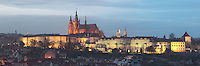 Evening view of Prague Castle, 10th - 14th centuries, the largest ancient castle in the world, and St Vitus cathedral, a Gothic Roman catholic cathedral founded 1344, Prague, Czech Republic. The historic centre of Prague was declared a UNESCO World Heritage Site in 1992. Picture by Manuel Cohen