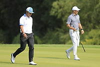 Hideki Matsuyama (JPN) Jordan Spieth (USA) on the 2nd fairway during the 2nd round of the WGC HSBC Champions, Sheshan Golf Club, Shanghai, China. 01/11/2019.<br /> Picture Fran Caffrey / Golffile.ie<br /> <br /> All photo usage must carry mandatory copyright credit (© Golffile   Fran Caffrey)