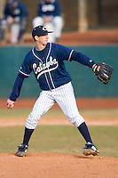 Starting pitcher Ross Whitley #6 of the Catawba Indians in action versus the Shippensburg Red Raiders on February 14, 2010 in Salisbury, North Carolina.  Photo by Brian Westerholt / Four Seam Images