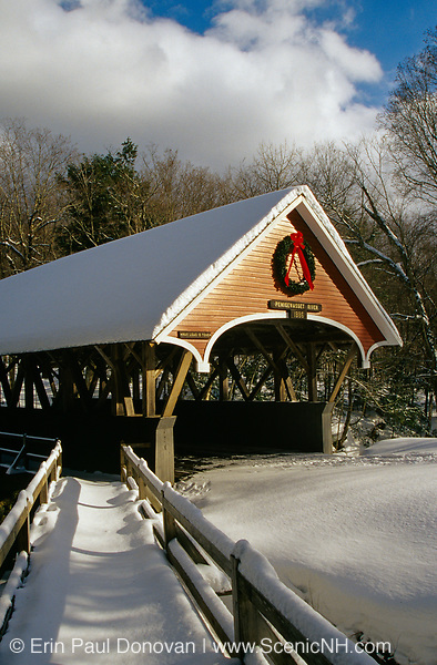 Franconia Notch State Park - Flume Covered Bridge in Lincoln, New Hampshire USA.