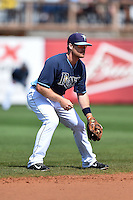 Tampa Bay Rays shortstop Logan Forsythe (10) during a spring training game against the Boston Red Sox on March 25, 2014 at Charlotte Sports Park in Port Charlotte, Florida.  (Mike Janes/Four Seam Images)