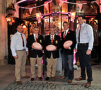 London, England. Phil Vicery, Andy Irvine, British & Irish Lions 2013 Head Coach Warren Gatland, Lewis Moody  and  Martin Bayfield at the launch of the Thomas Pink British & Irish Lions Collection as the new Official Outfitters for the iconic rugby team at  The Pink Lion, London, England on October 30. 2012.