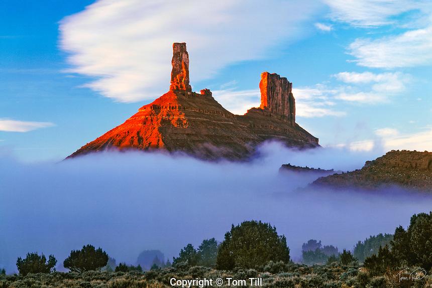 Castle Rock in Fog, Castle Valley, Utah