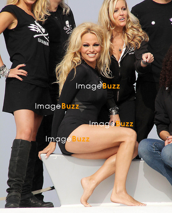 "Pamela Anderson at a press conference on board ""The Sea Shepherd's SSS Brigitte Bardot"" to launch their ""Operation Zero Tolerance"" Antarctic Whale Defense Campaign, held at Fisherman's Village at Marina Del Rey. Los Angeles, November 2, 2012.. ."