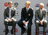 LA Galaxy President Alexi Lalas (C) David Beckham (R) and Galaxy Head Coach Frank Yallop (L) during the David Beckham, LA Galaxy press conference at the Home Depot Center in Carson, California, Friday, July 13, 2007.