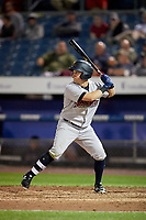 Scranton/Wilkes-Barre RailRiders left fielder Mark Payton (16) at bat during a game against the Syracuse Chiefs on June 14, 2018 at NBT Bank Stadium in Syracuse, New York.  Scranton/Wilkes-Barre defeated Syracuse 9-5.  (Mike Janes/Four Seam Images)
