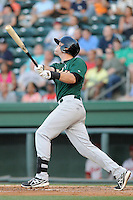 Infielder Jayce Boyd (15) of the Savannah Sand Gnats bats in a game against the Greenville Drive on Wednesday, May 29, 2013, at Fluor Field at the West End in Greenville, South Carolina. Greenville won, 5-1. (Tom Priddy/Four Seam Images)