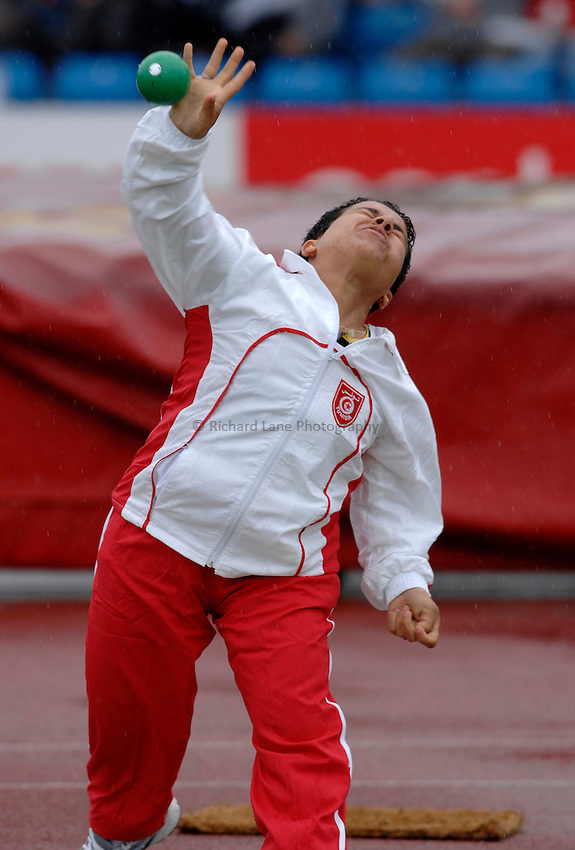 Photo: Richard Lane..VISA Paralympic World Cup 2007. Athletics. 13/05/2007. .Laila El Garaa of Morocco in the women's F40 shot put.