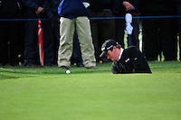 Shane Lowry chips out of a bunker onto the 17th green during Round 3 of the 3 Irish Open on 16th May 2009 (Photo by Eoin Clarke/GOLFFILE)