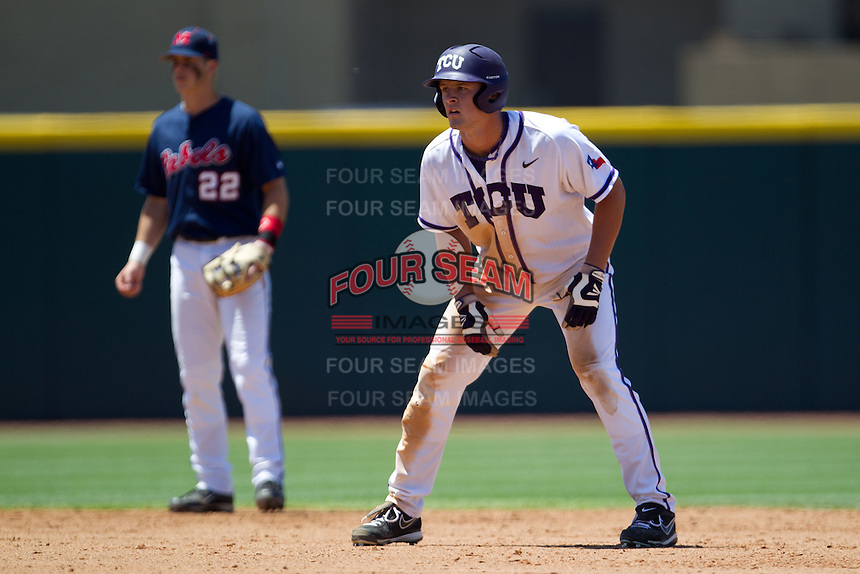 Outfielder Jerrick Suiter #31 of the Texas Christian University Horned Frogs leads off second base during the NCAA Regional baseball game against the Ole Miss Rebels on June 1, 2012 at Blue Bell Park in College Station, Texas. Ole Miss defeated TCU 6-2. (Andrew Woolley/Four Seam Images)