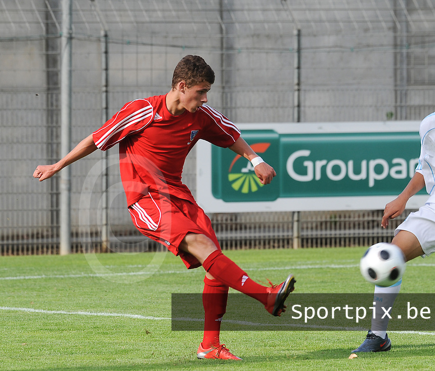 20090606 - CANET EN ROUSSILON , France : Lens' Thorgan Hazard pictured during the Under 16 France Championship final 2009 soccer match between Racing Club de LENS Under 16 and Marseille U16 , in Canet en Roussilon , France . Saturday 6 th June 2009 .  PHOTO DAVID CATRY
