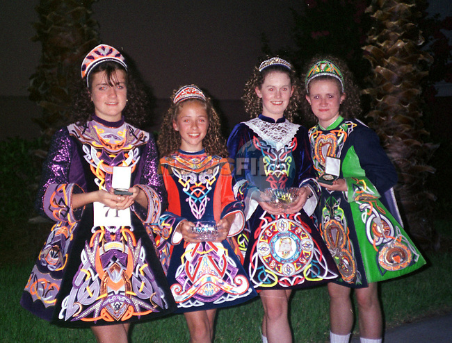 Pupils from Scoile Rince NiCherra-OBaolain Drogheda, Niamh Eustace Chrrybrook, Eileen Hannan Donecarney, Lisa Heatherington, Donecarney, and Louise Breen Brothar Brugha missing from the picture Tracey Faulkner pictured at the North American Irish Dance Championships in Orlando Florida..Pic: Tony Breen/ Newsfile