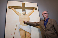 The painter and sculptor Fernando Botero, describes one of his paints while he supervises the assembly of his recently work know as VIACRUCIS, passion of the Christ  at the Museum of Antioquia in Medellín, Colombia. 01/04/2012. Photo by Fredy Amariles/VIEWpress.