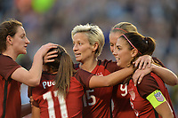 San Diego, CA - Sunday January 21, 2018: Mallory Pugh, Megan Rapinoe, Alex Morgan prior to an international friendly between the women's national teams of the United States (USA) and Denmark (DEN) at SDCCU Stadium.