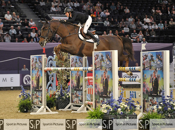 "Angelie Von Essen (SWE) riding ""Cheers Twin"". International showjumping. Grandstand welcome stakes. Horse of the year show (HOYS). National Exhibition Centre (NEC). Birmingham. UK. 05/10/2018. ~ MANDATORY CREDIT Garry Bowden/SIPPA - NO UNAUTHORISED USE - +44 7837 394578"