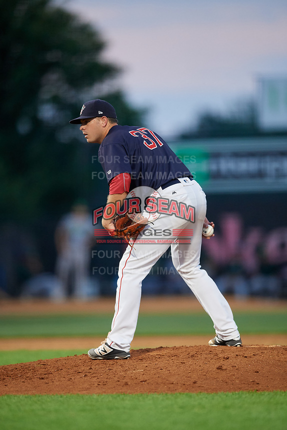 Lowell Spinners relief pitcher Danny Bethea (37) looks in for the sign during a game against the Vermont Lake Monsters on August 25, 2018 at Edward A. LeLacheur Park in Lowell, Massachusetts.  Vermont defeated Lowell 4-3.  (Mike Janes/Four Seam Images)