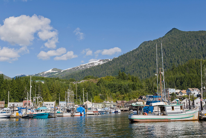 Thomas Basin boat harbor in downtown Ketchikan, Alaska.