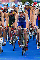 07 AUG 2011 - LONDON, GBR - Jonathan Brownlee (GBR) makes his way through transition at the start of another bike lap during the men's round of triathlon's ITU World Championship Series .(PHOTO (C) NIGEL FARROW)