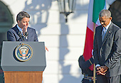 Prime Minister Matteo Renzi of Italy makes remarks during an arrival ceremony hosted by United States President Barack Obama at the start of the Official Visit in honor of  the Prime Minister on the South Lawn of the the White House in Washington, DC on Tuesday, October 18, 2016. <br /> Credit: Ron Sachs / CNP