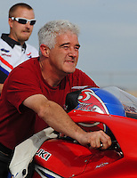 Nov. 1, 2008; Las Vegas, NV, USA: NHRA pro stock motorcycle rider Mike Berry during qualifying for the Las Vegas Nationals at The Strip in Las Vegas. Mandatory Credit: Mark J. Rebilas-